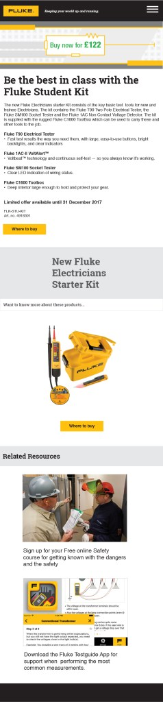 Fluke Electricians Starter Kit, Europe Campaign Landing Page Mobile Version