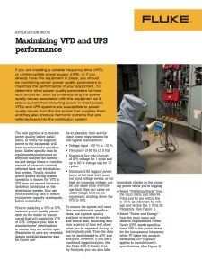 Maximizing VFD and UPS Performance Application Note