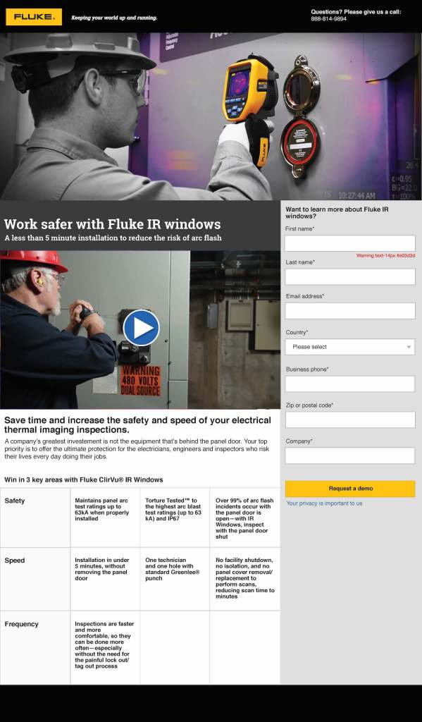Fluke Thermography ClirVu IR Windows, Webpage