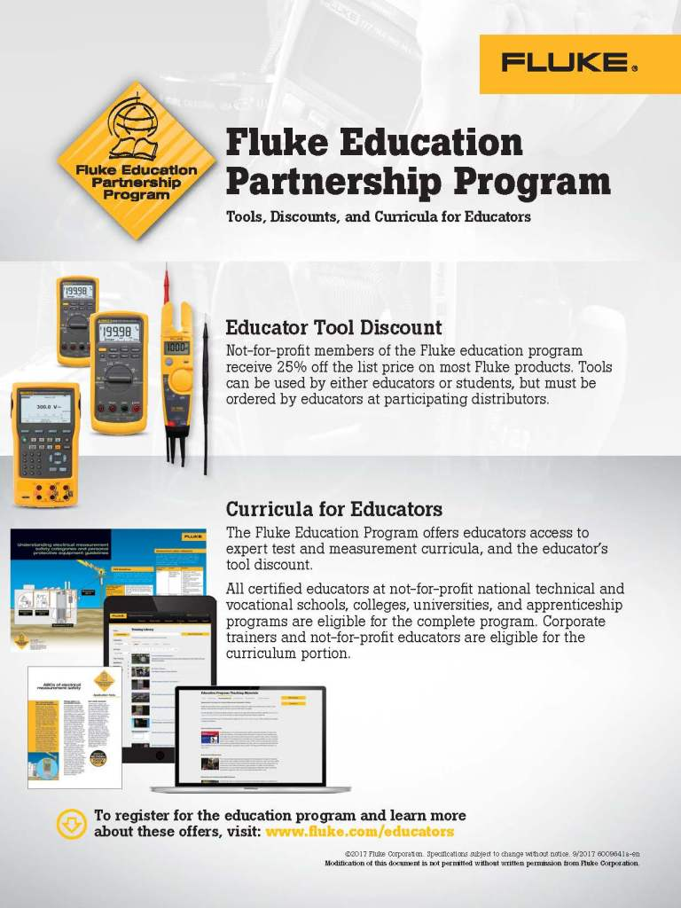 Fluke Education Partnership Program Flyer, Canada