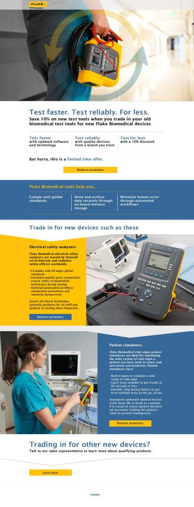 Fluke Biomedical Trade Up Program Web Page