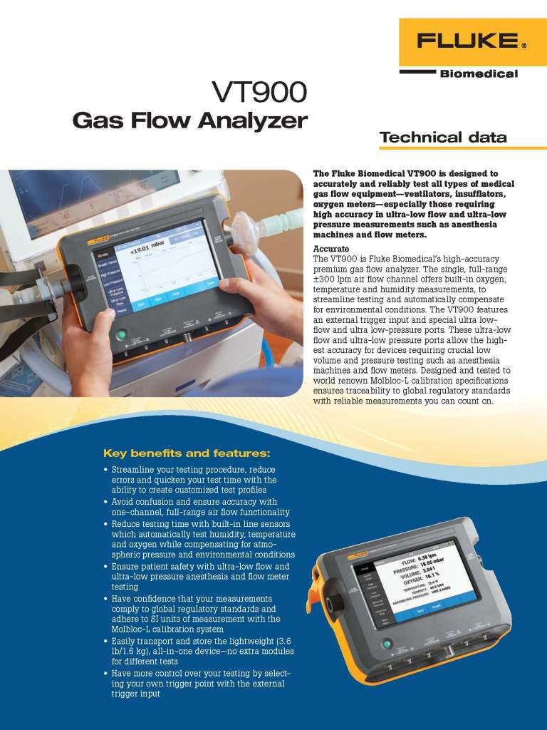 Fluke Biomedical New Product, VT900 Datasheet
