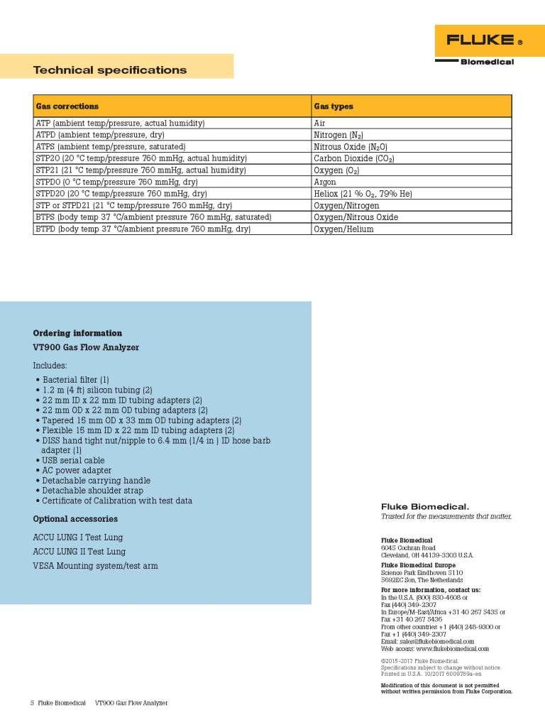 Fluke Biomedical New Product, VT900 Datasheet