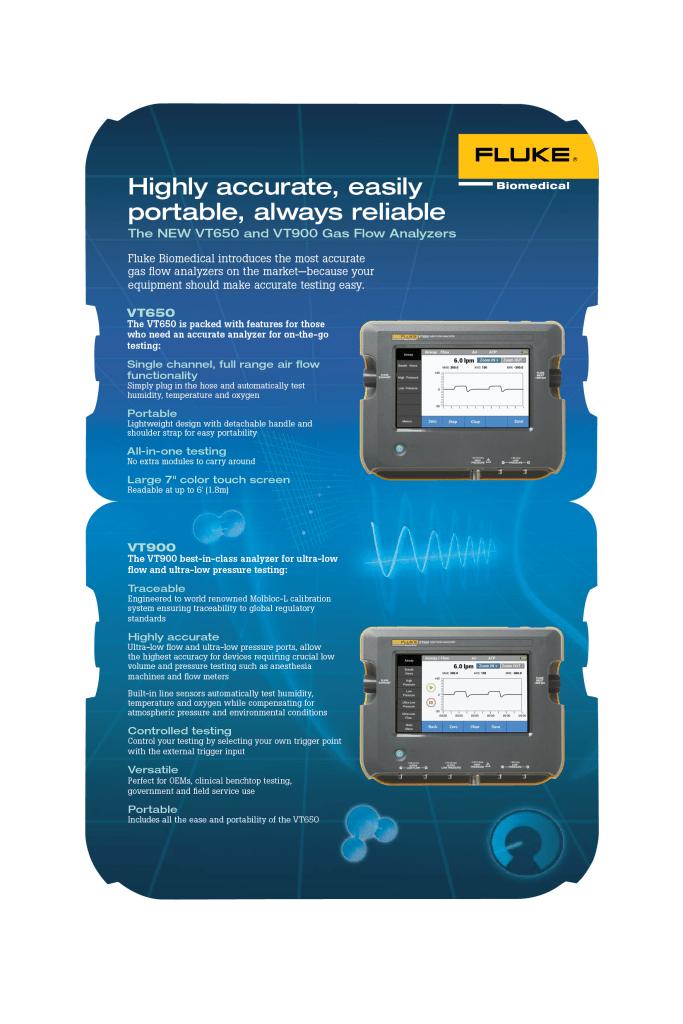 Fluke Biomedical New Product, VT650/VT900 Brochure
