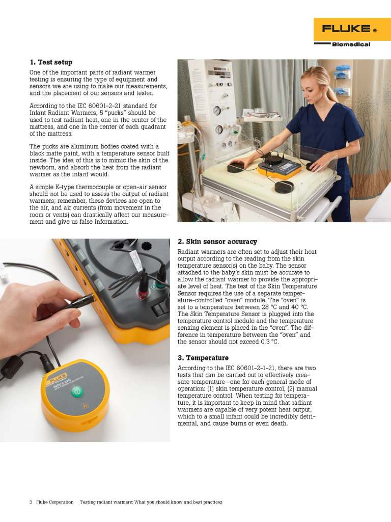 Fluke Biomedical, Testing Radiant Warmers, Application Note