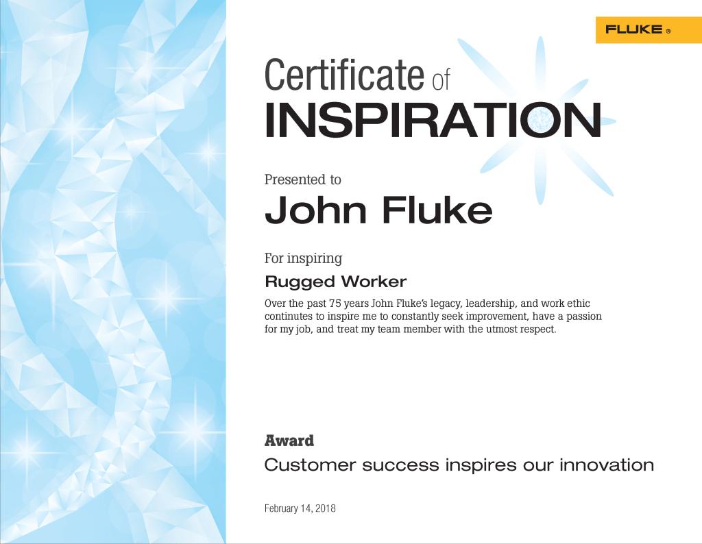 Fluke Inspire Program Certificates of Recognition