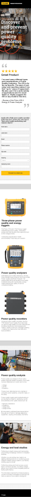 Fluke Power Quality Web Page, Mobile