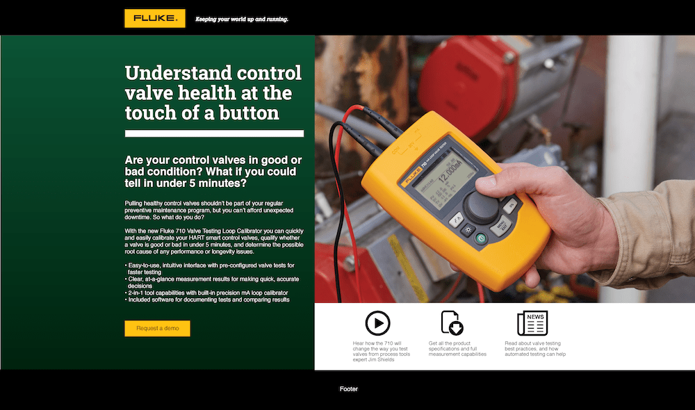 710 Valve Tester Campaign Web Page
