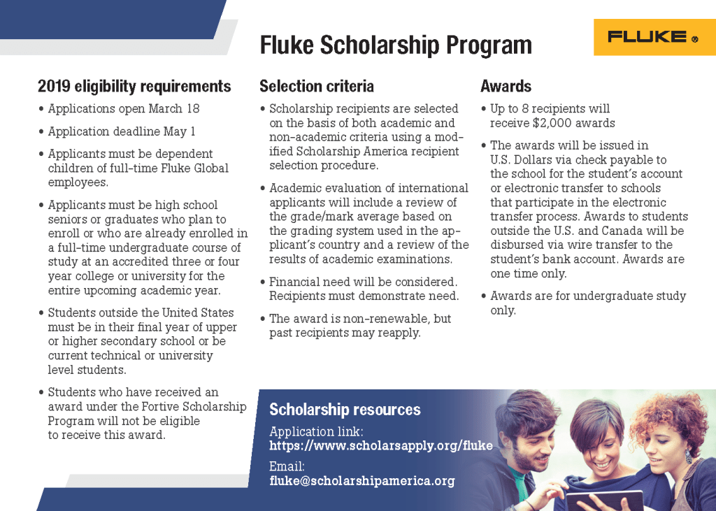 Fluke Scholarship Program FAQ Card