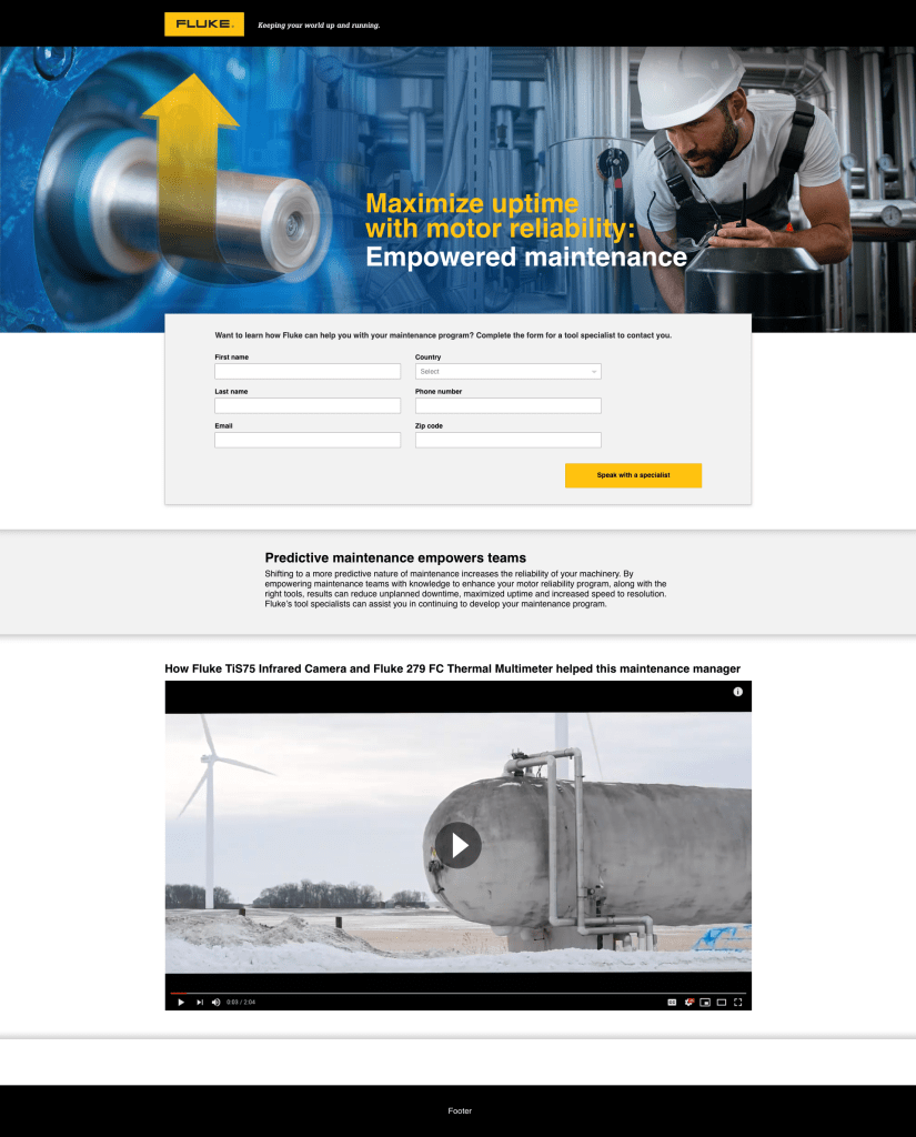 Motor Reliability Campaign Landing Page, Maintenance