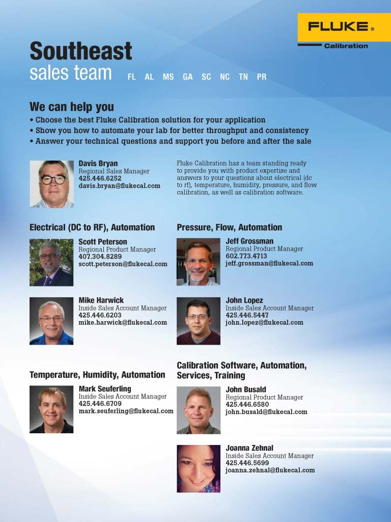 FCAL South East Sales Team Flyer
