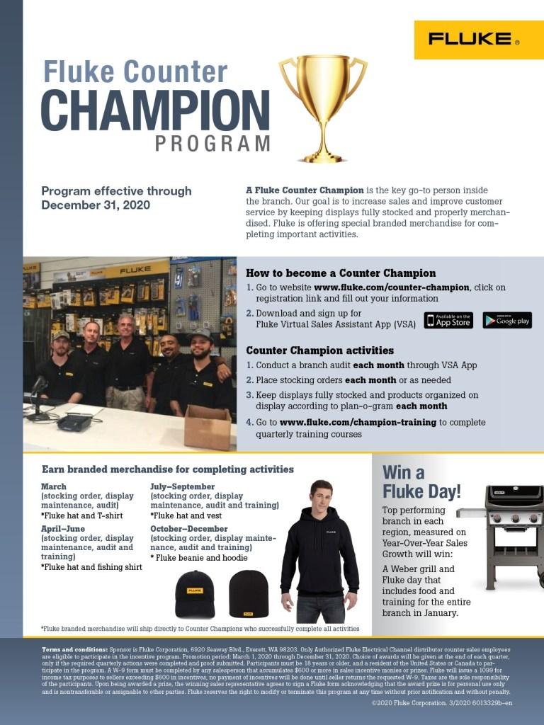 Fluke Counter Champion Program Flyer