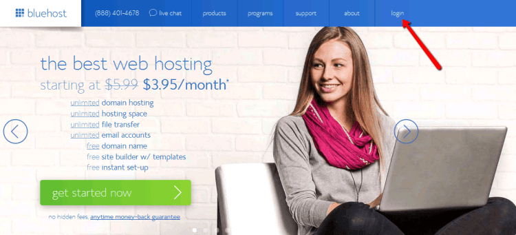 click Login to enter your new bluehost account