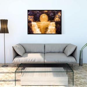 """Peinture Paysage """" Un autre monde"""" par l' artiste peintre Mounia LOUKRISS disponible"""