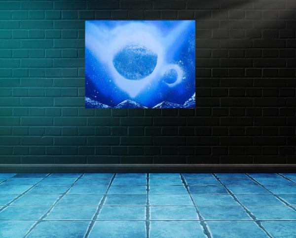 """Peinture Figurative """"Planètes dans les étoiles"""""""
