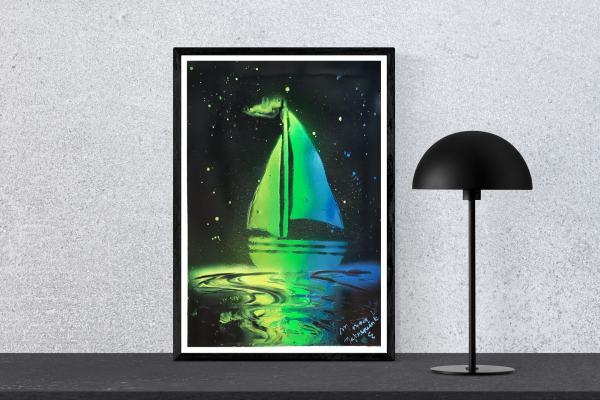 """Poster peint à la bombe """"Prendre les voiles"""" par l' artiste peintre Mounia LOUKRISS disponible"""