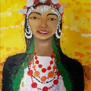 """Portrait peinture """" La femme berbère aux cheveux d' Ebène """" Disponible"""