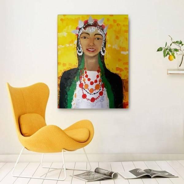 Peinture Portrait de la femme berbère aux cheveux d''Ebène par l' artiste peintre Mounia LOUKRISS disponible