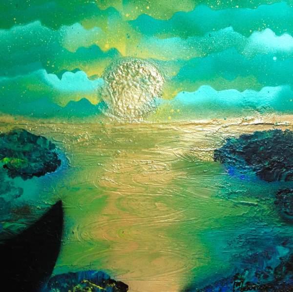 Tableau peint à la bombe Petit coin de paradis par l' artiste peintre Mounia LOUKRISS
