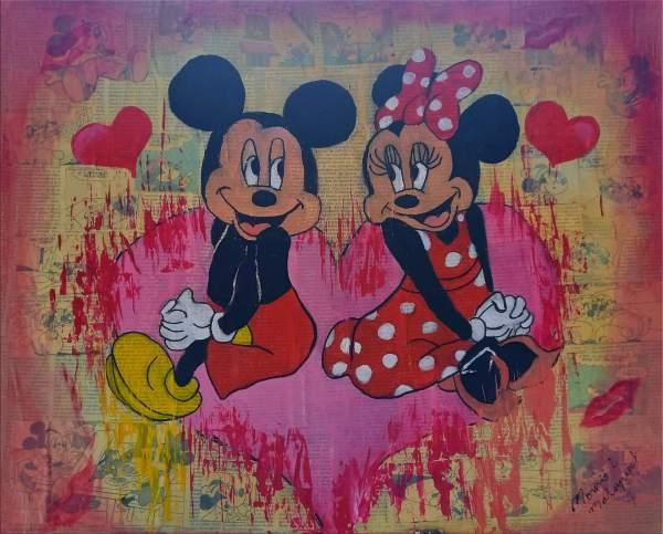 Peinture Mickey et Minnie amoureux St Valentin par Mounia LOUKRIS