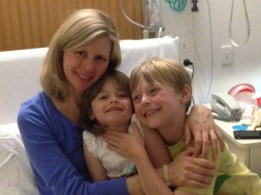 My children visiting me in hospital. Cuddles all round!