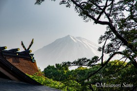 5月12日朝集合場所より富士山を見る