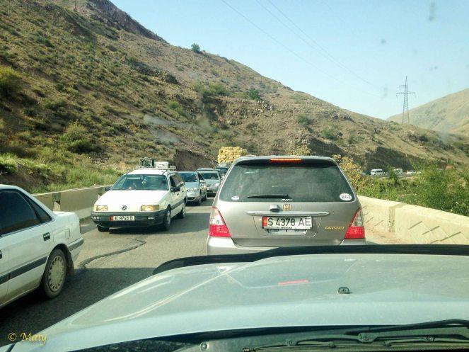 Traffic on the way to Issyk Kul...