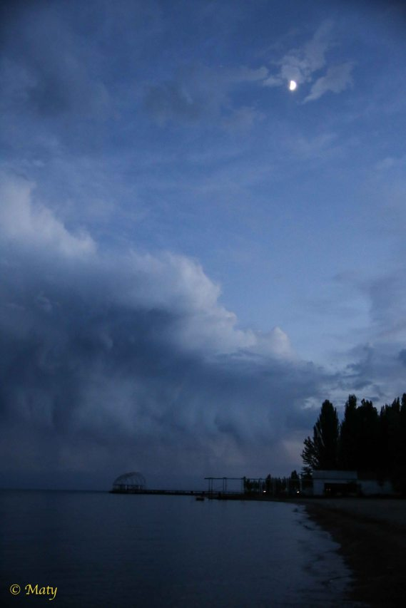 Weather is changing quickly after sunset at Lake Issyk Kul