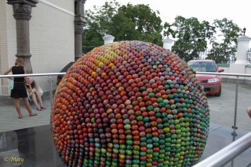 Sculpture made out of painted eggs