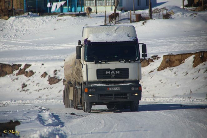 Yet another fuel truck going to the border crossing with Tajikistan.