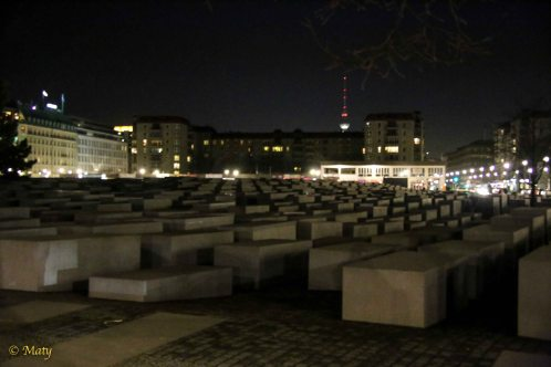 Holocaust Memorial at night - designed to ensure that future generations will remember the horror of WW II - really amazing site