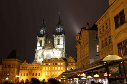 Prague - Old City late at night - snow is falling