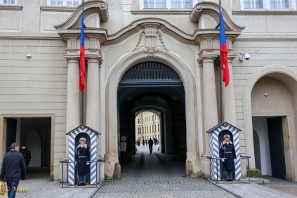 Honor Guard at the entrance to Hrad Castle- in Prague, Czech Republic