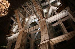 Wooden support structure and amazing lights underground the Wieliczka mine
