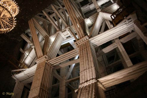 Wooden support structure and amazing lights underground the Wieliczka mine
