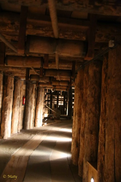Long time ago salt was moved from the bottom of the mine by the carts moved by system of pulleys