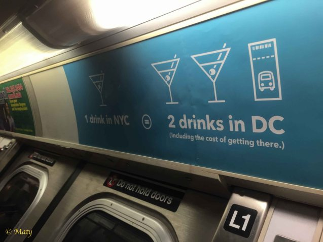 1 drink in NYC is equal 2 Drinks in DC plus bus ticket = it does not add up