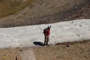Christoph is touching the glacier!