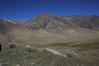 Road to Song Kul Lake is that white line...