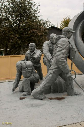 Monument dedicated to the first responders to the Chernobyl's Reactor 4 explosion