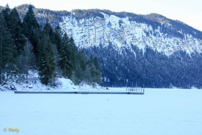 as we can see, entire frozen Eibsee Lake