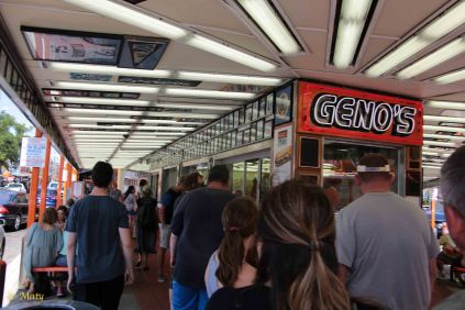 There is always long line at Geno's but service is very fast! No Credit Cards!