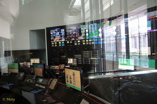 View of the TV studio control room
