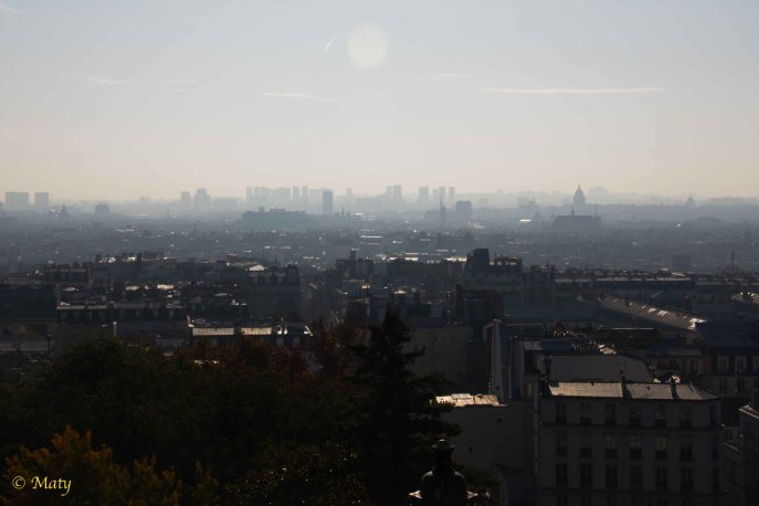 view of Paris from Sacre Coeur - city is waking up