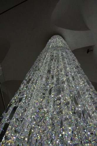 Swarovski crystal or entire tower of crystals in company store in Innsbruck