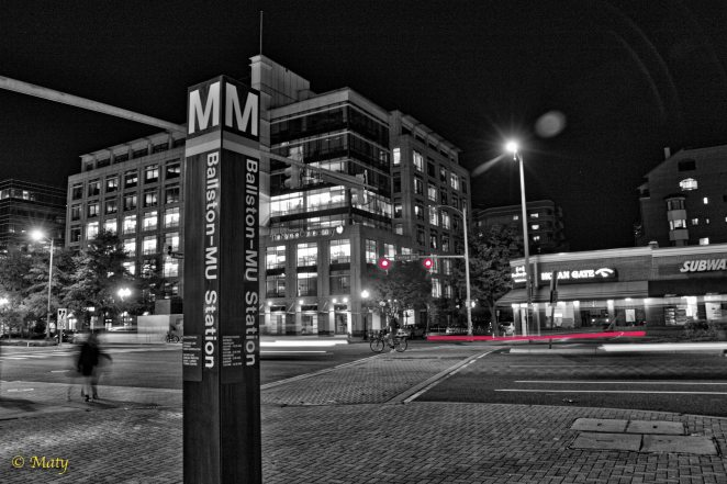 Ballston Metro Station in Black and White