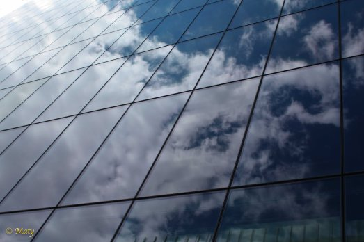Glass and sky reflected in the glass...