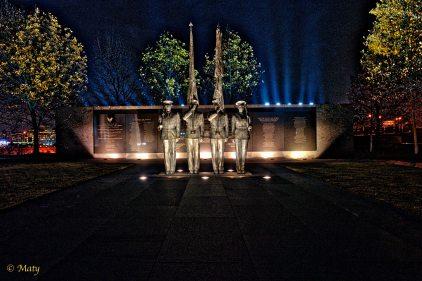 USAF Memorial at night