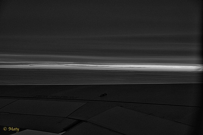 Red sunrise above the wing! (in B&W)