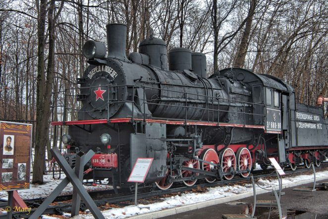 Front take on steam locomotive